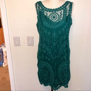 Green Lace Dress with Slip